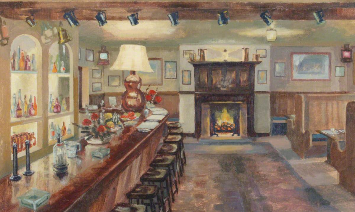 The 'Nut' Bar at the Keppel's Head Hotel, Portsmouth, c.1955