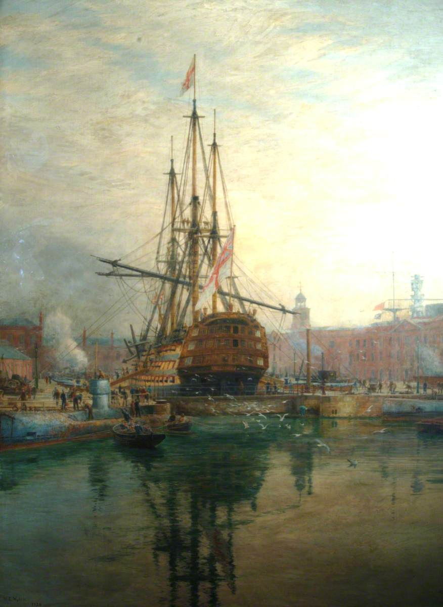 The Main Yard of HMS 'Victory' Being Crossed