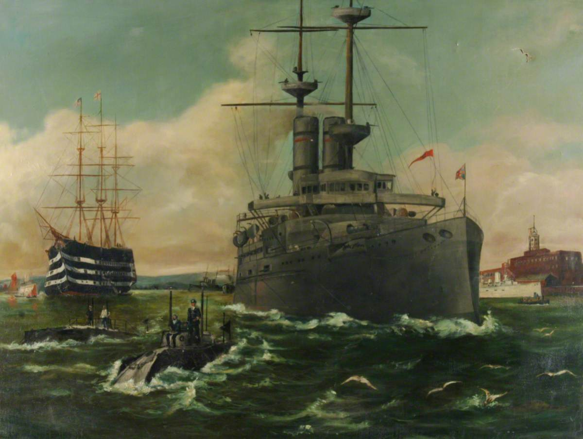 'A' Class Submarines and a Warship, possibly Royal Sovereign Class, 1905