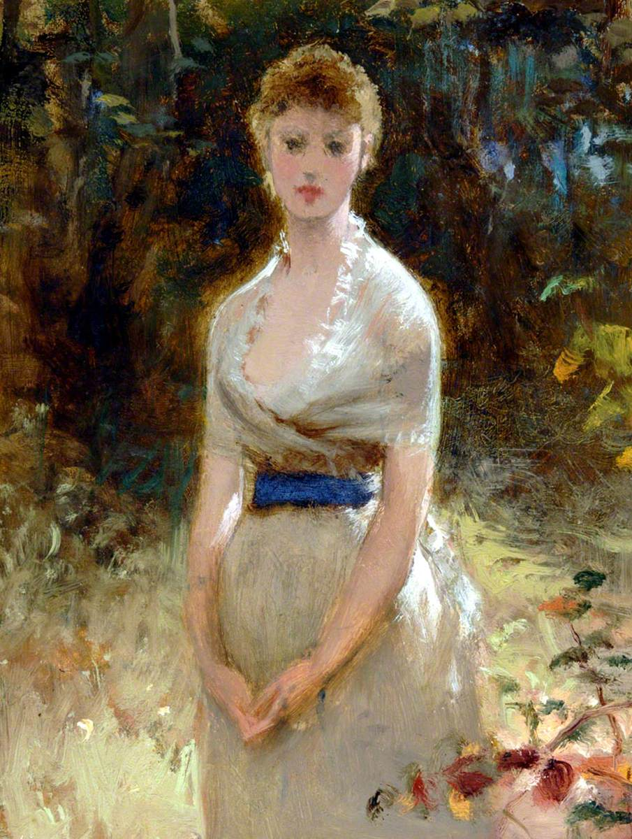 Lady in White Dress with Blue Sash
