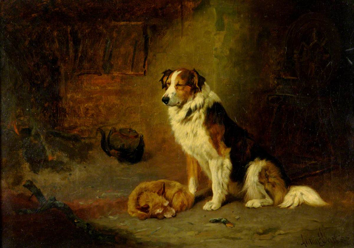 Terrier Asleep and Collie Dozing before the Fire