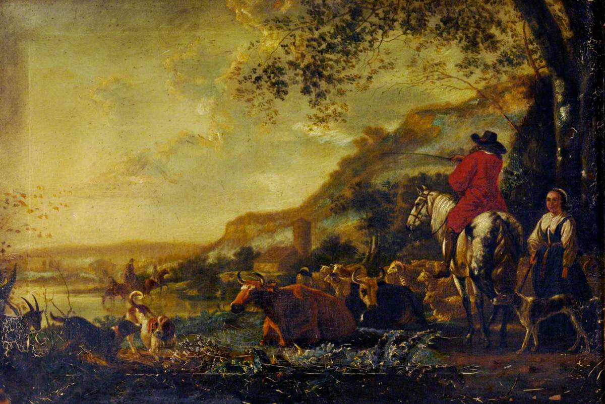 A Hilly River Landscape with a Horseman talking to a Shepherdess