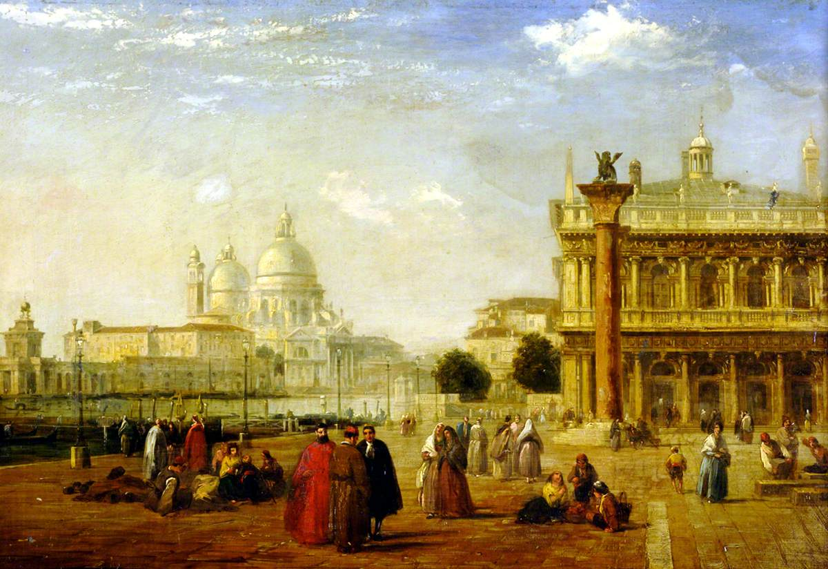 Venice: A View from the Molo Looking towards Santa Maria della Salute and the Dogana