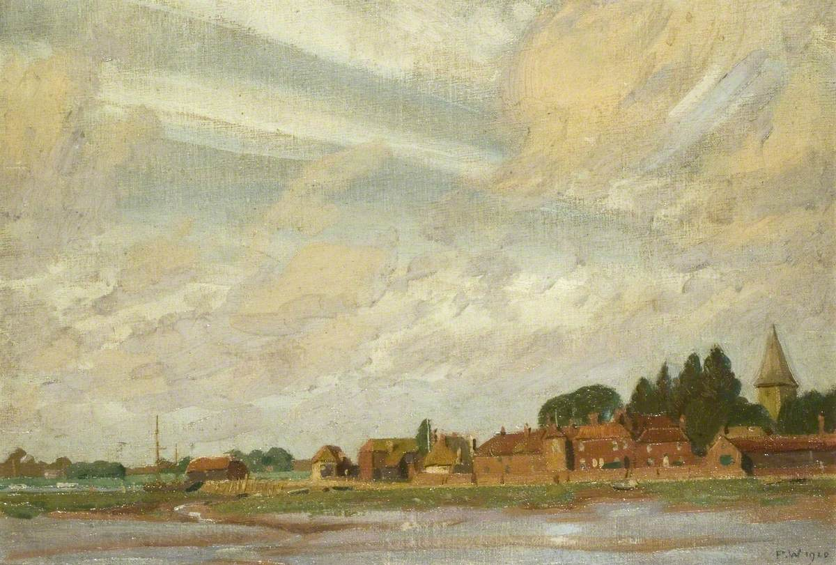 Estuary Landscape with Village