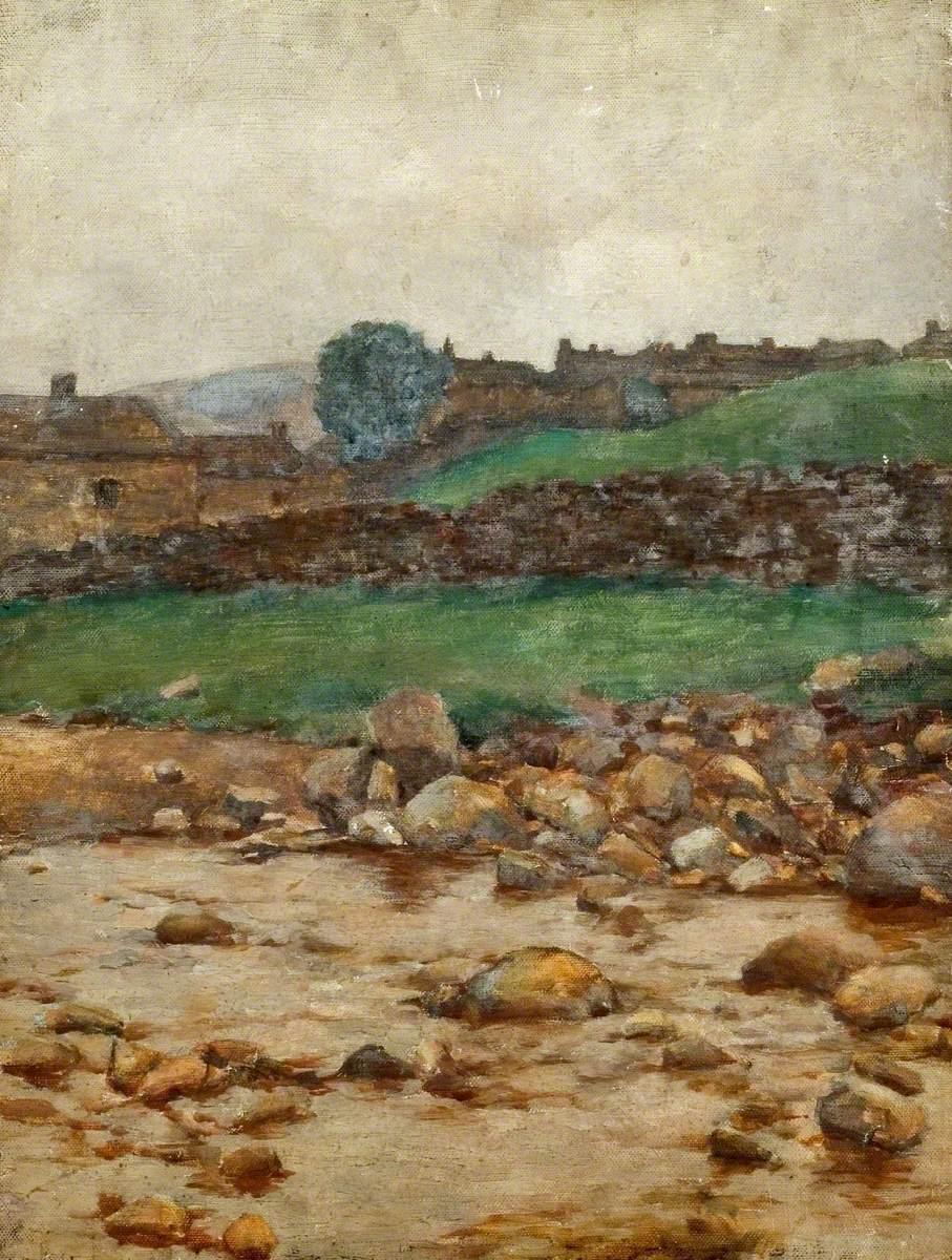 A Village Viewed across a Rocky Stream