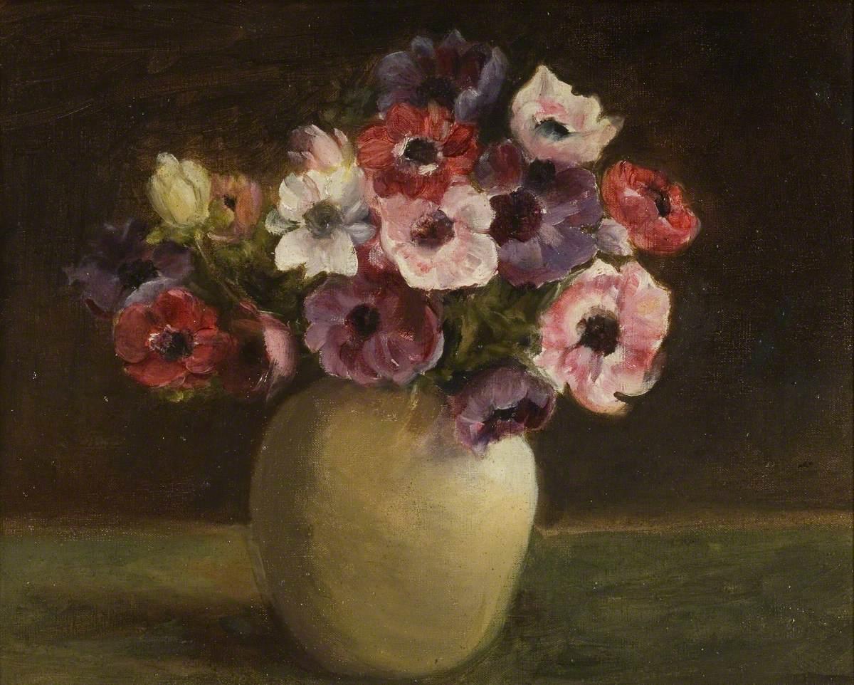 Anemones In A Ceramic Vase Art Uk
