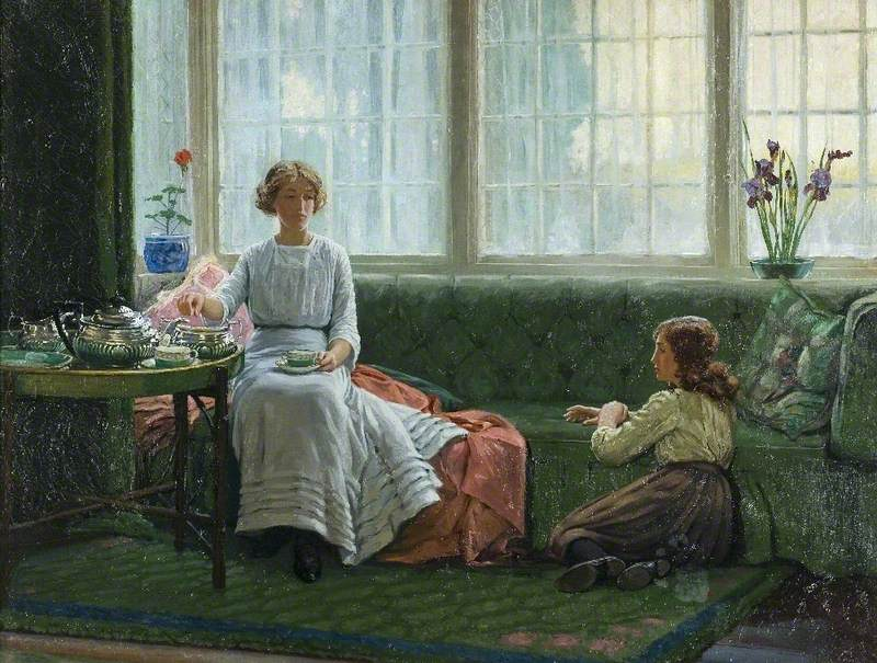 Two Girls in a Window Seat