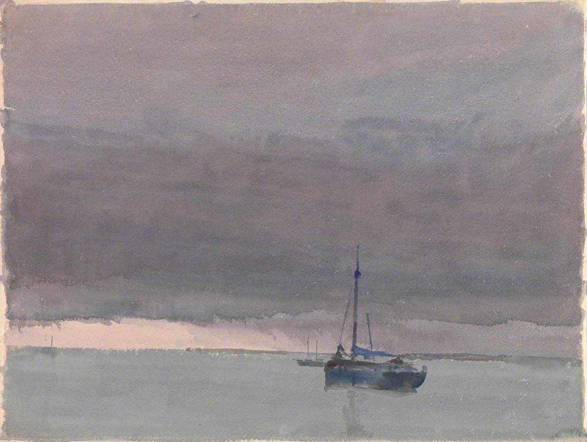 Purple Sky and Leaden Sea with Ship