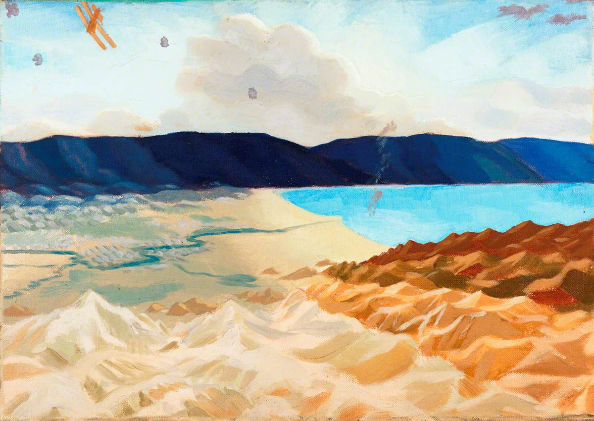 Study for 'The Dead Sea: An Enemy Aeroplane over the Dead Sea, Palestine'