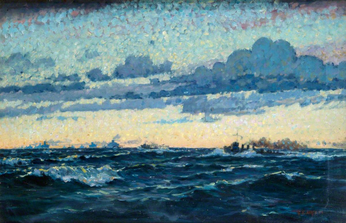 Seascape with Convoy and Evening Sky Effect
