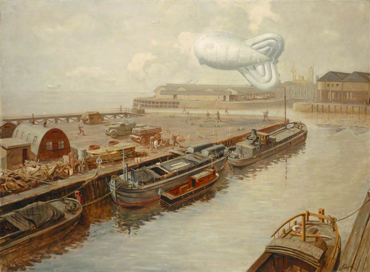 A Barrage Balloon over a Dock at Hull