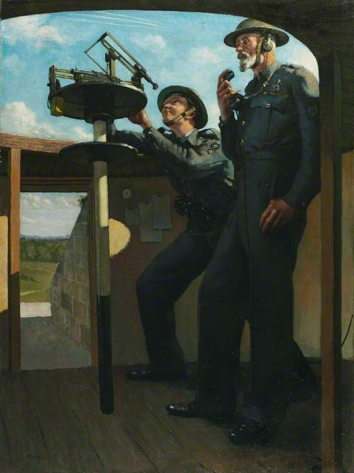 Leading Observer J. O. Isaacs and Chief Observer H. B. Harfield: Royal Observer Corps