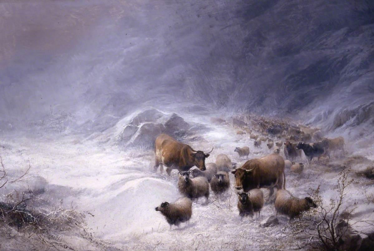 Winter, Through the Fells, Cumberland, the Drove in a Snowdrift