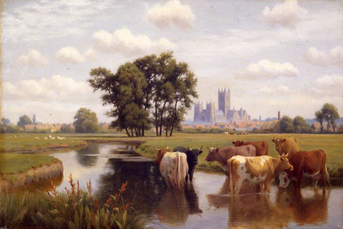 Canterbury Cathedral from the Stour Meadows, Kent   Art UK