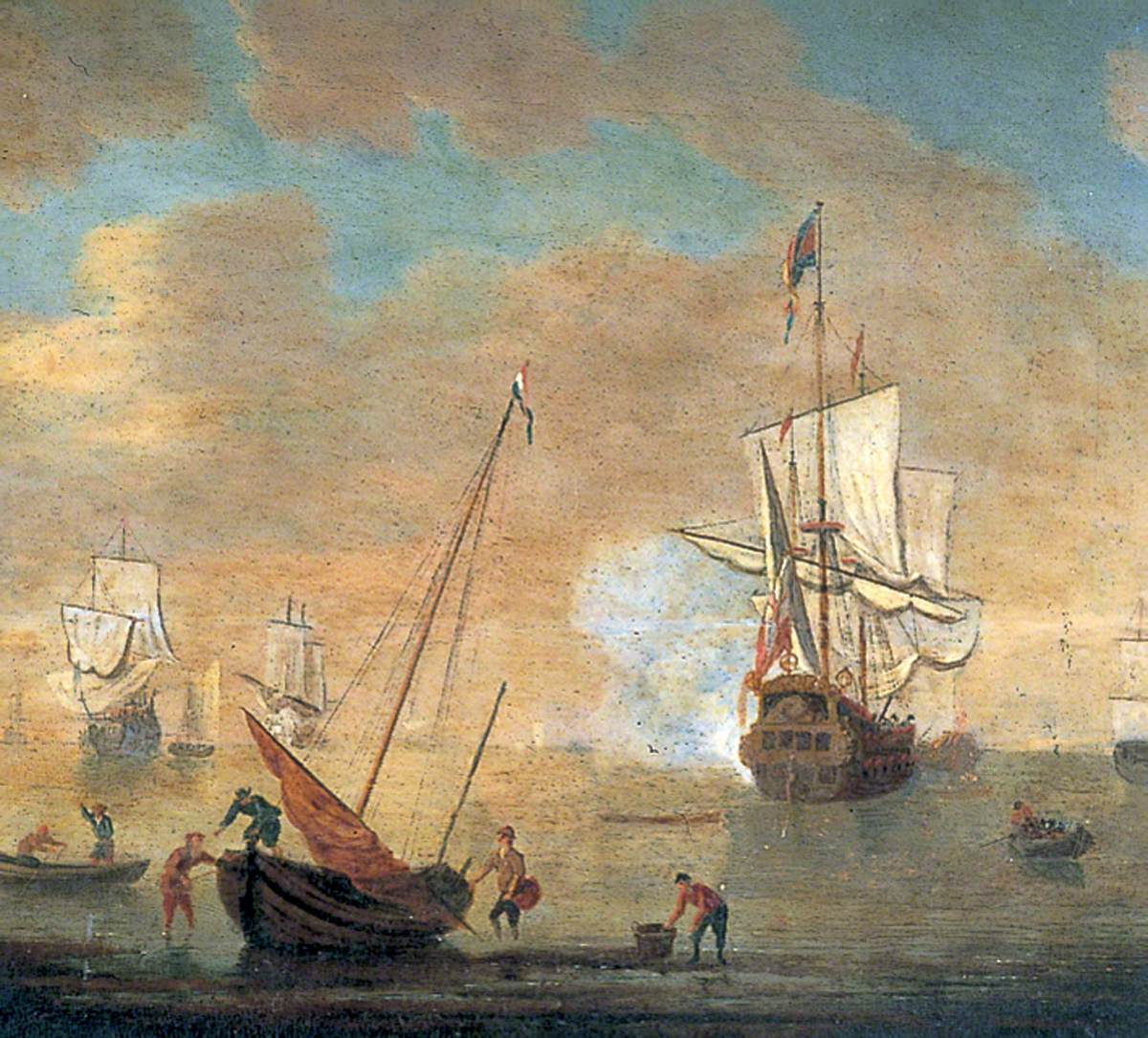 Fishing Boats and a Man of War
