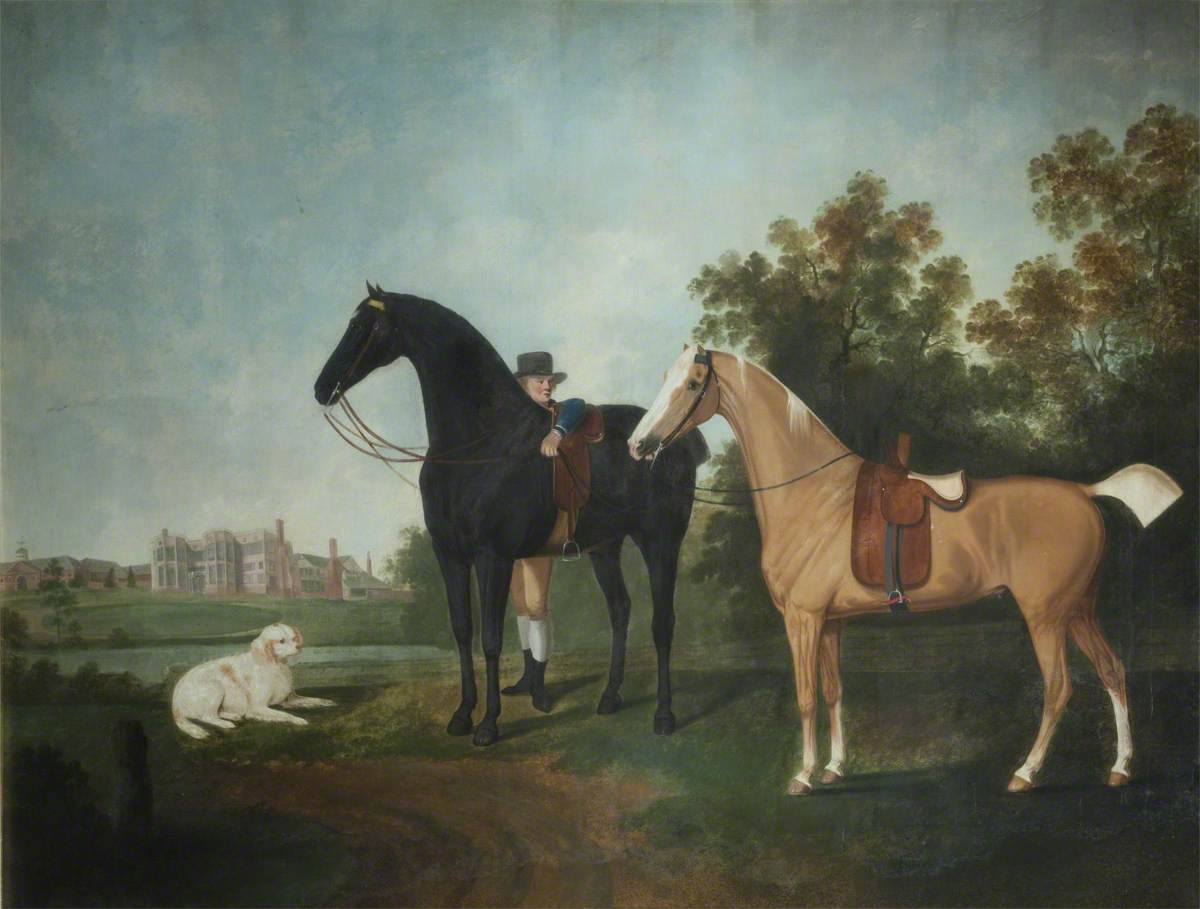 A Groom with a Chestnut and Palomino Horse in the Grounds of Astley Hall