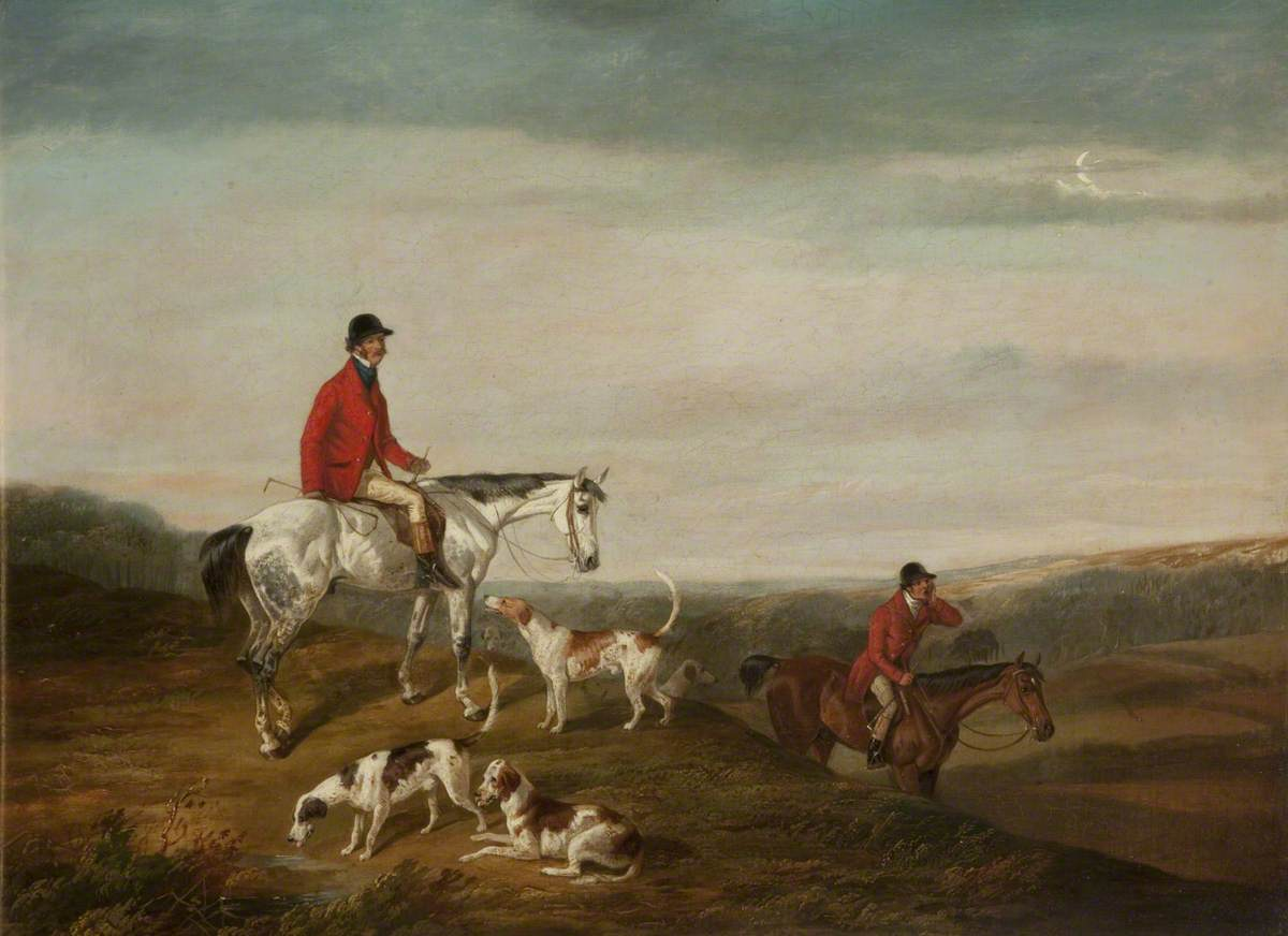 M. F. H. in a Red Jacket on a Grey Horse with Three Hounds