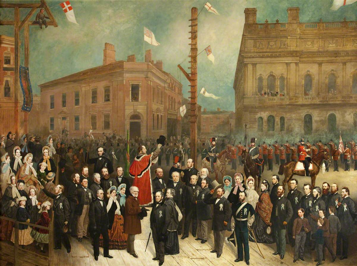 Laying the Foundation Stone to the Cotton Exchange, Blackburn