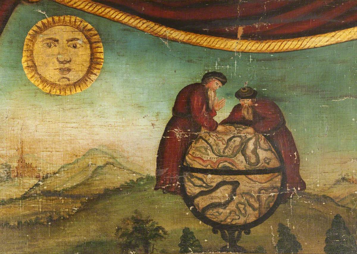 Two Men with Globe