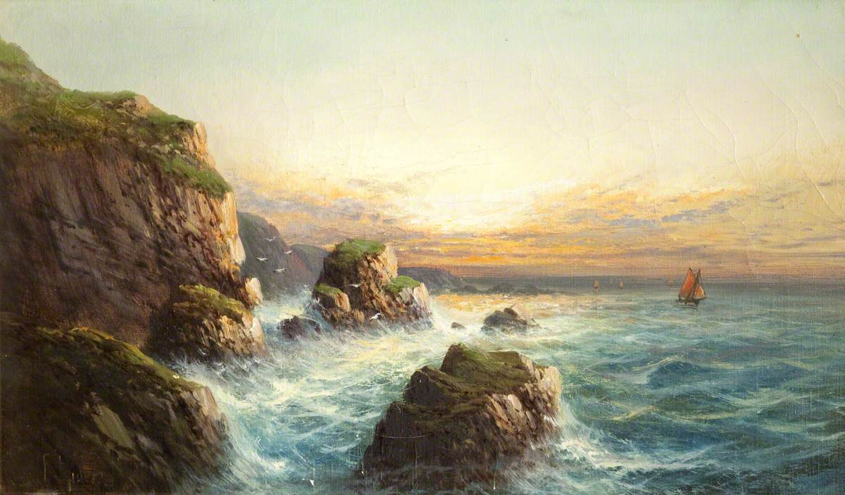 Rocky Coast Scene at Sunset, Devon