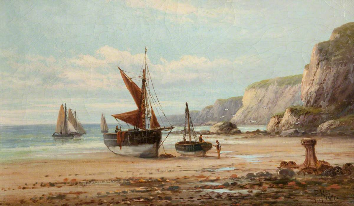 Shore Scene with Boats in Cornwall