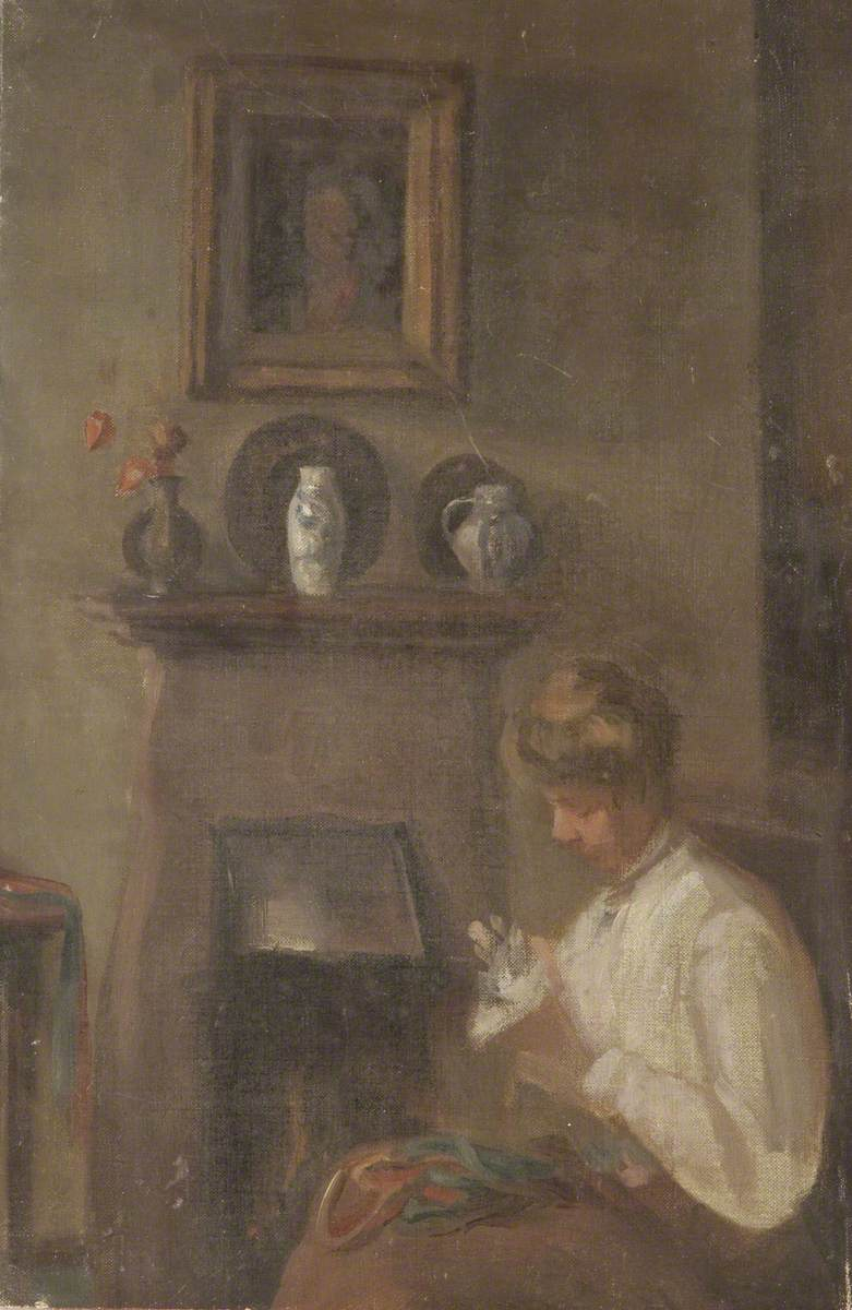 Girl Sewing by a Fireside