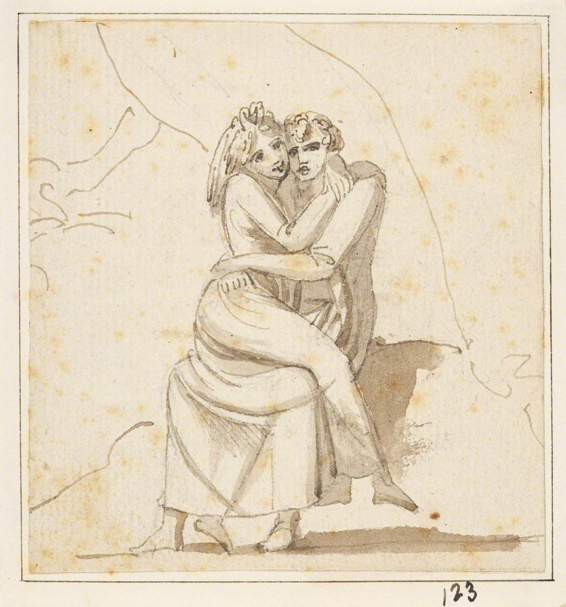 Man With a Woman on His Knee