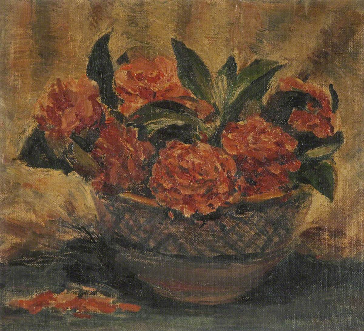 A Bowl Filled with Red Flowers