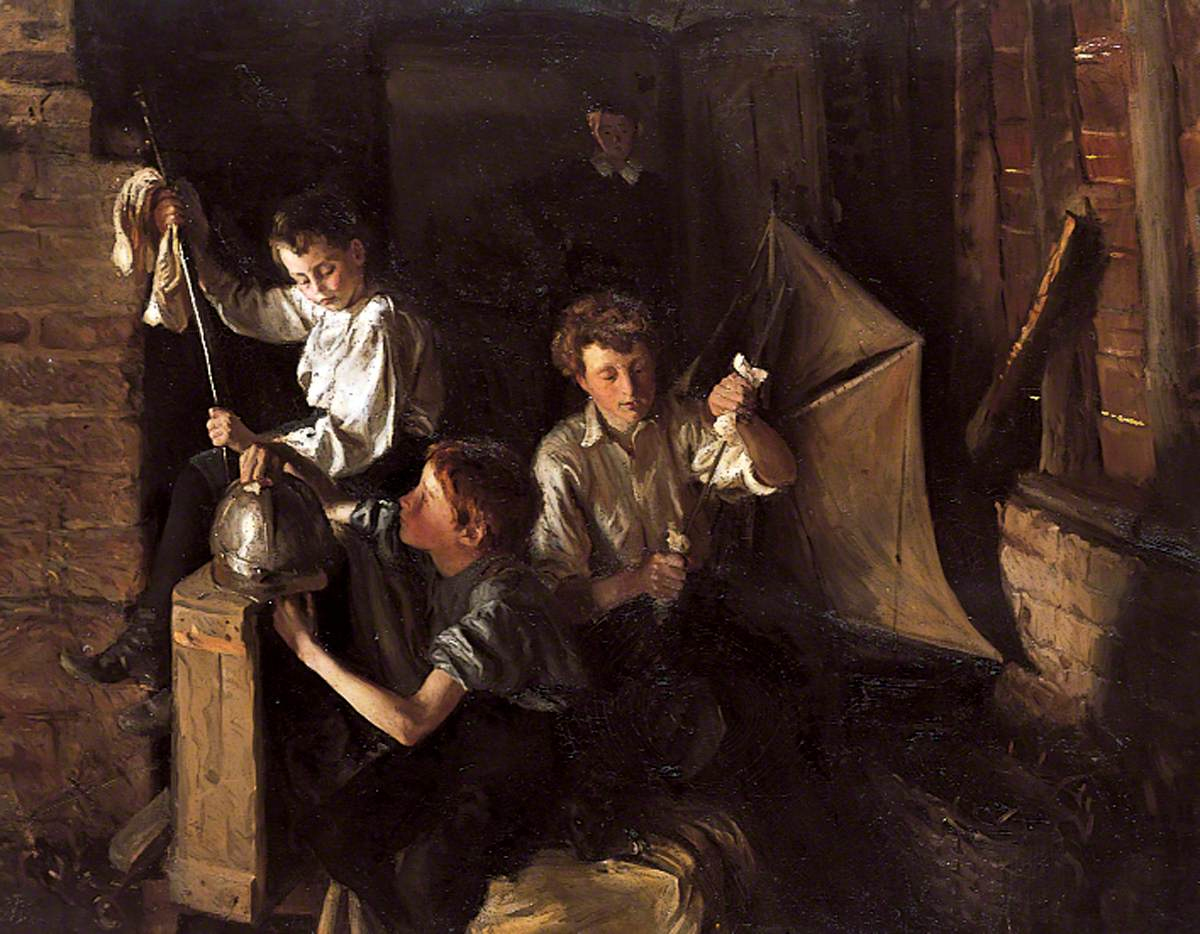 Children Playing in an Interior, Polishing Armour