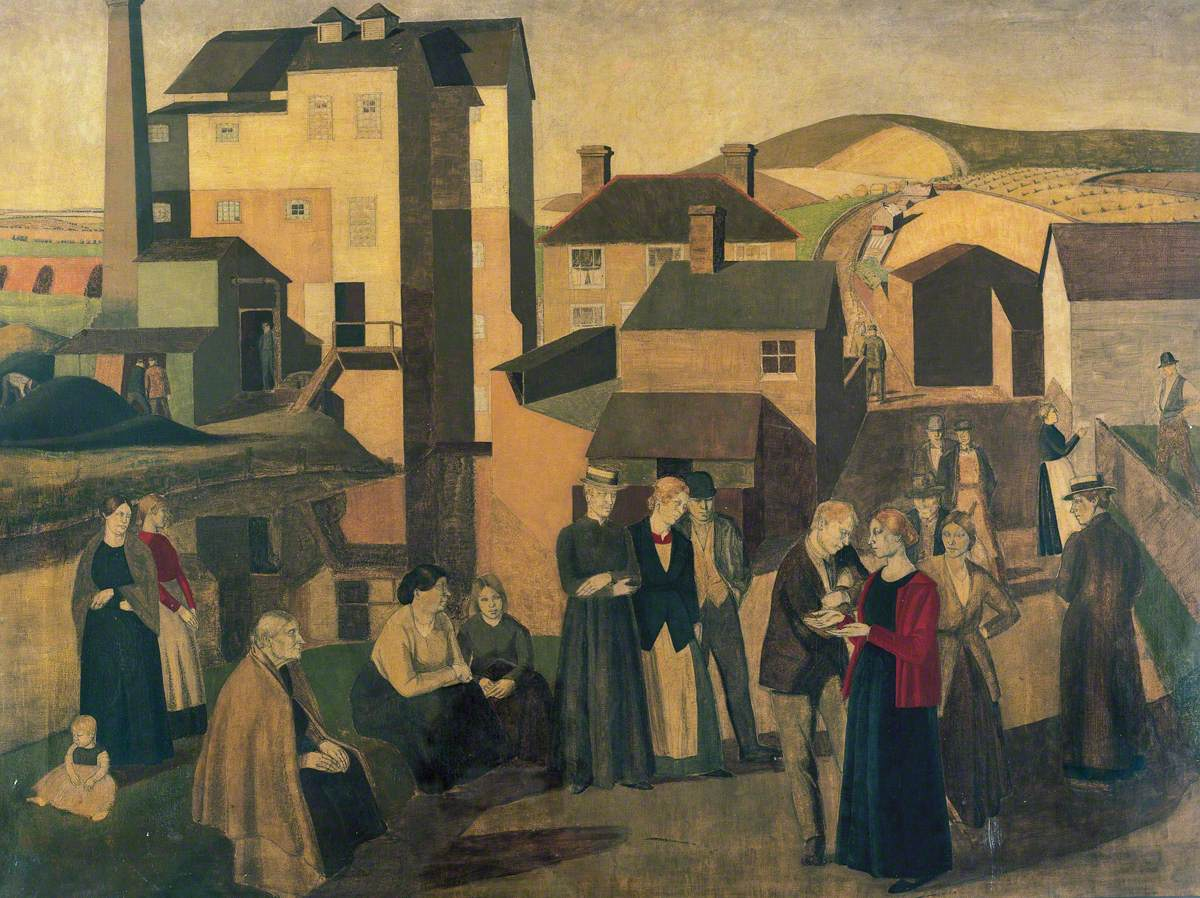 A Scene in a Village Street with Mill-Hands Conversing