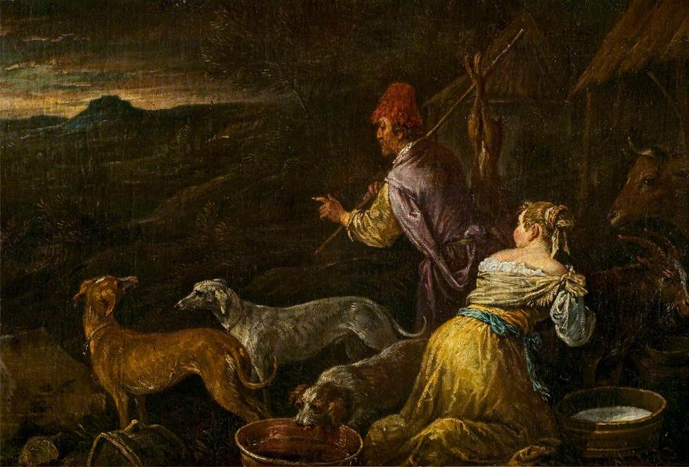 Two Peasants with Animals