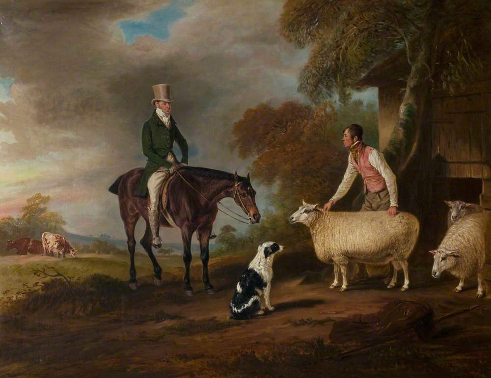 Sir John Palmer on His Favourite Mare with His Shepherd, John Green, and His Prize Leicester Longwool Sheep
