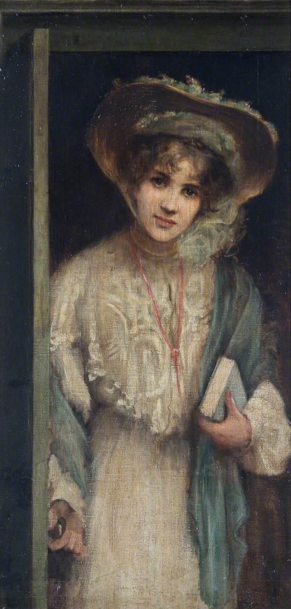 Woman Entering through a Door