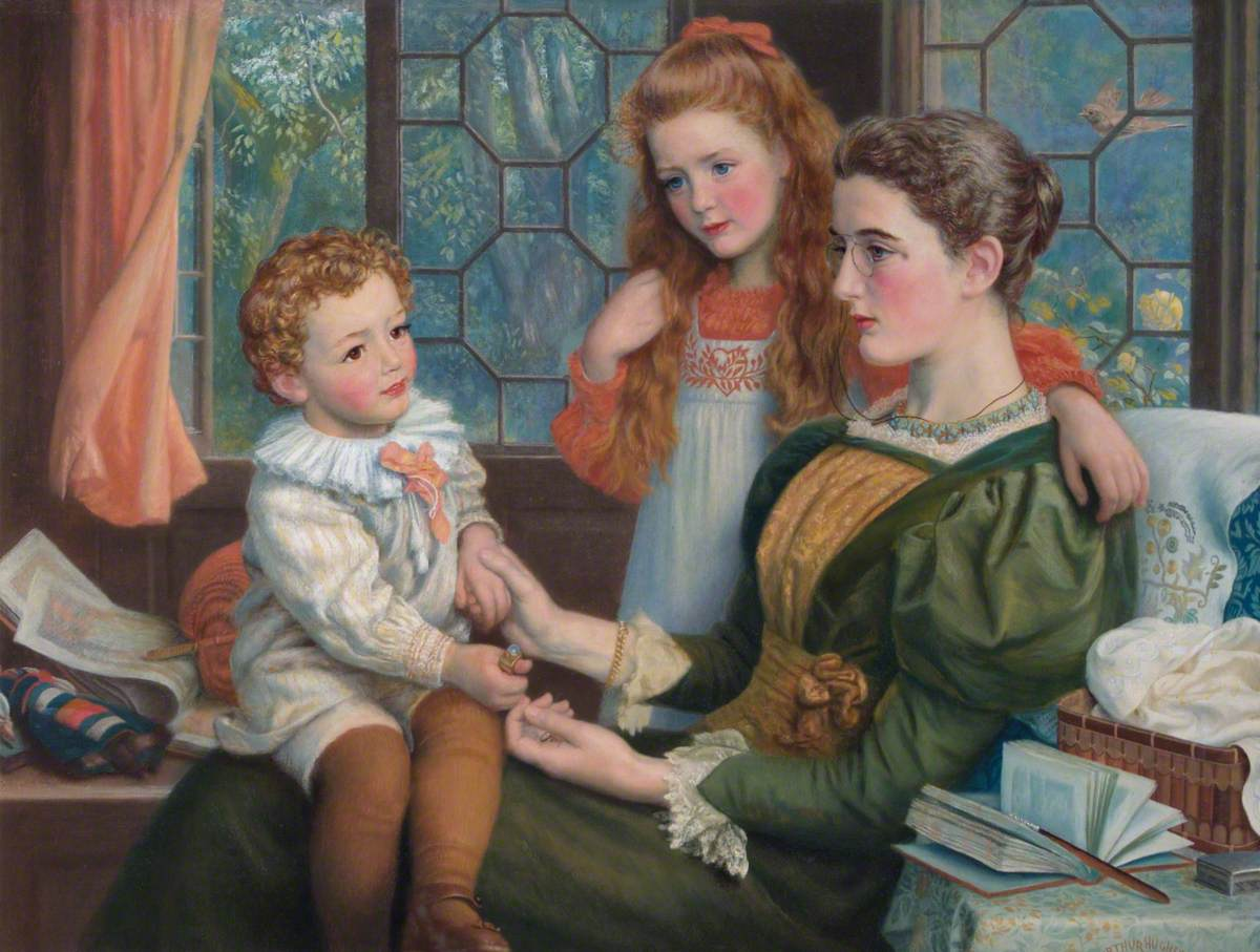 Mrs Norman Hill and Her Children