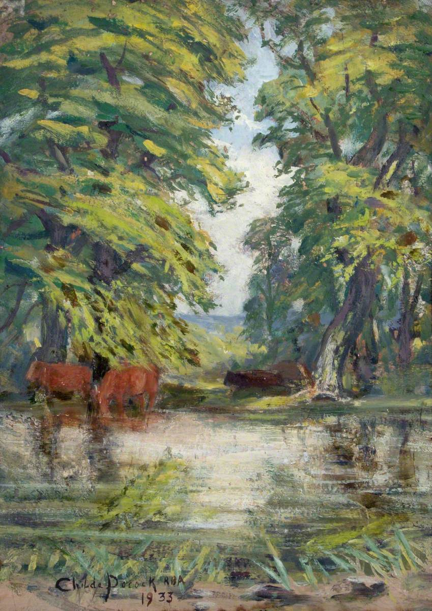 Cattle by a Pond