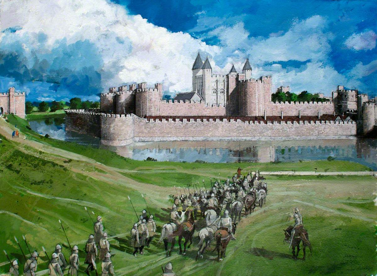 Reconstructed View of the Tower of London, Edward I's Completed Outer Wall, 1300