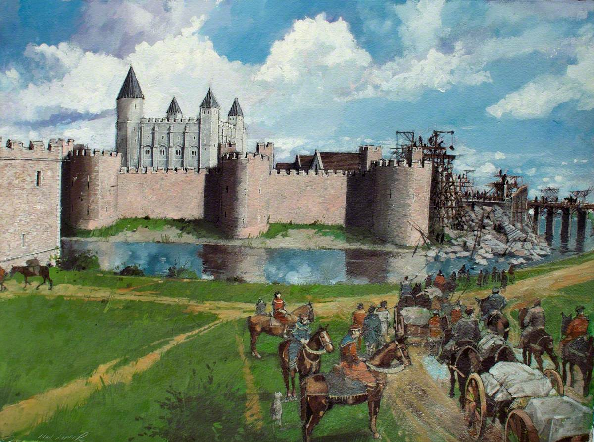 Reconstructed View of the Tower of London, Henry III Gate Collapse, 1300