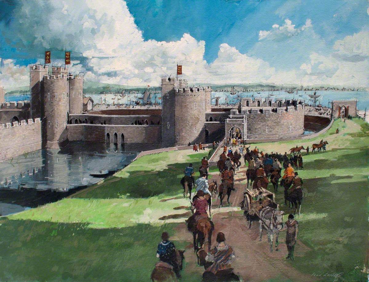 Reconstructed View of the Tower of London, Byward Entrance, 1300