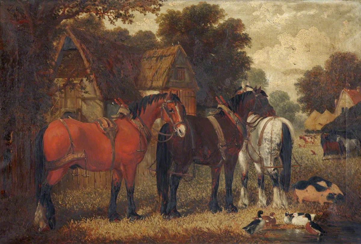 Three Horses, Pigs and Ducks