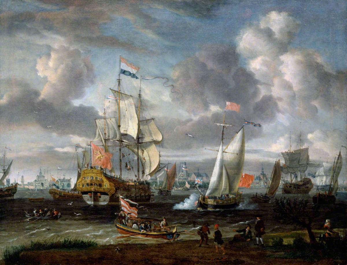 An English Yacht Saluting a Dutch Man-of-War in the Port of Rotterdam