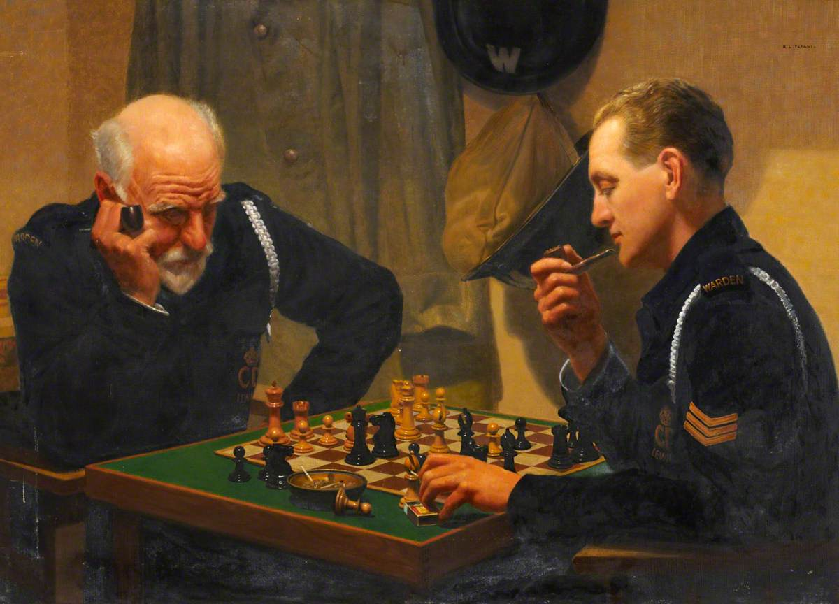 A Quiet Night, Air Raid Wardens Playing Chess
