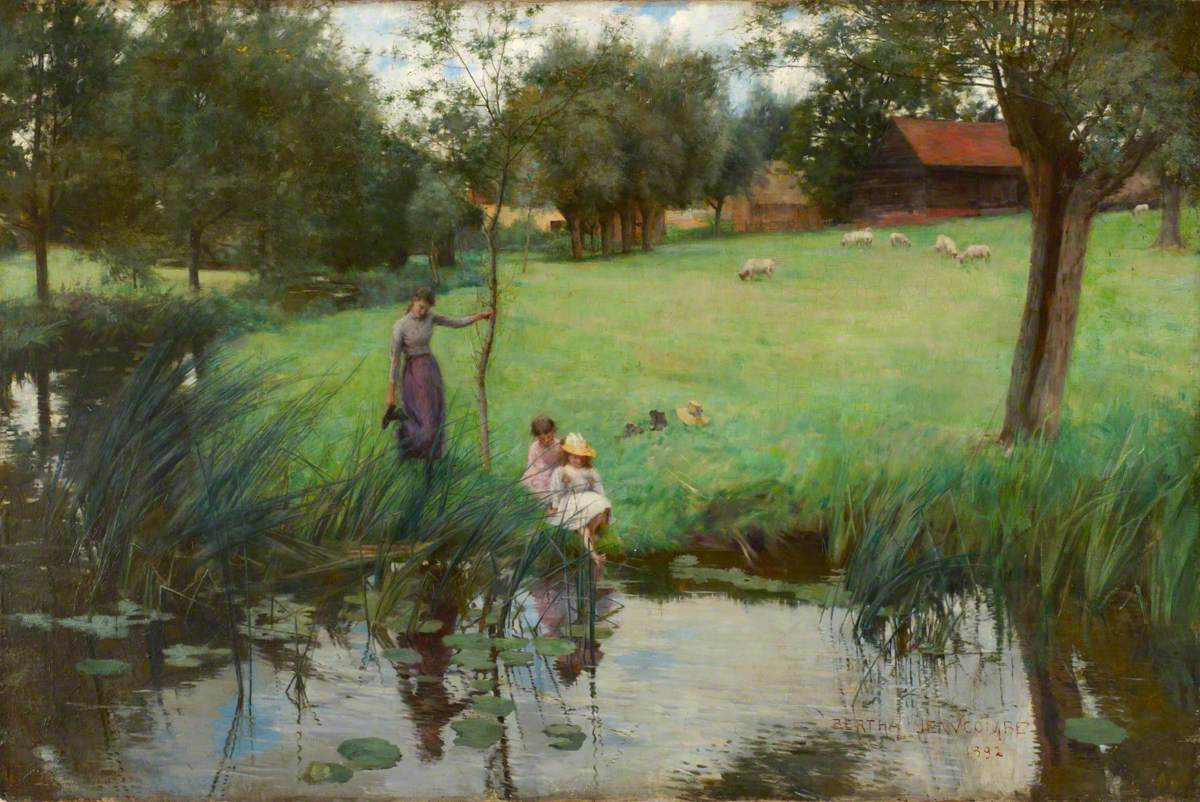 Landscape with Pond, Sheep and Figures