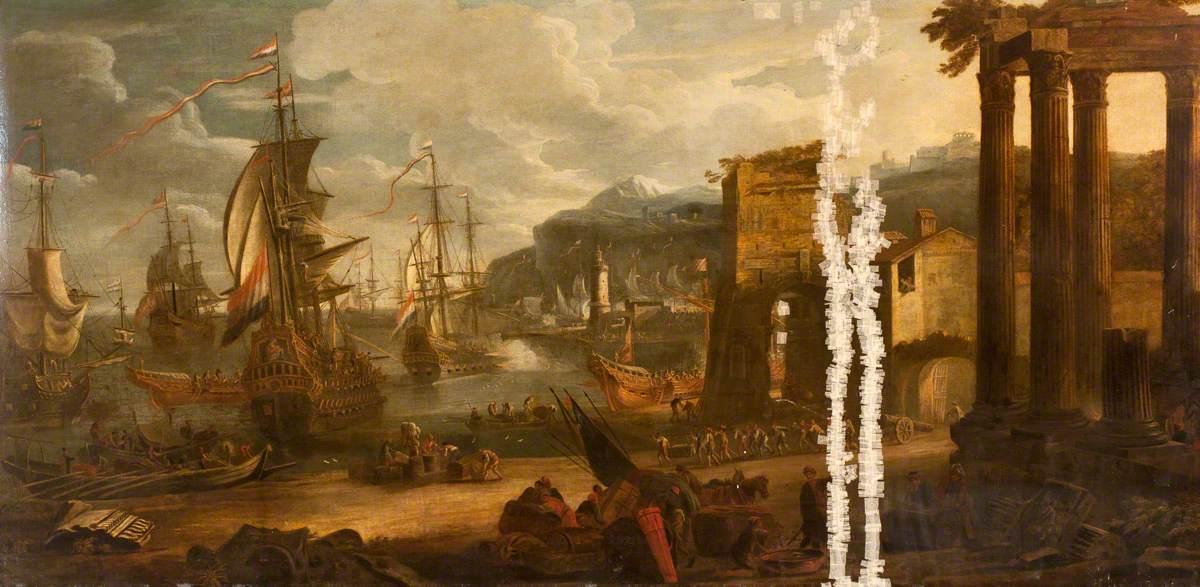 Harbour under Attack by Battleships