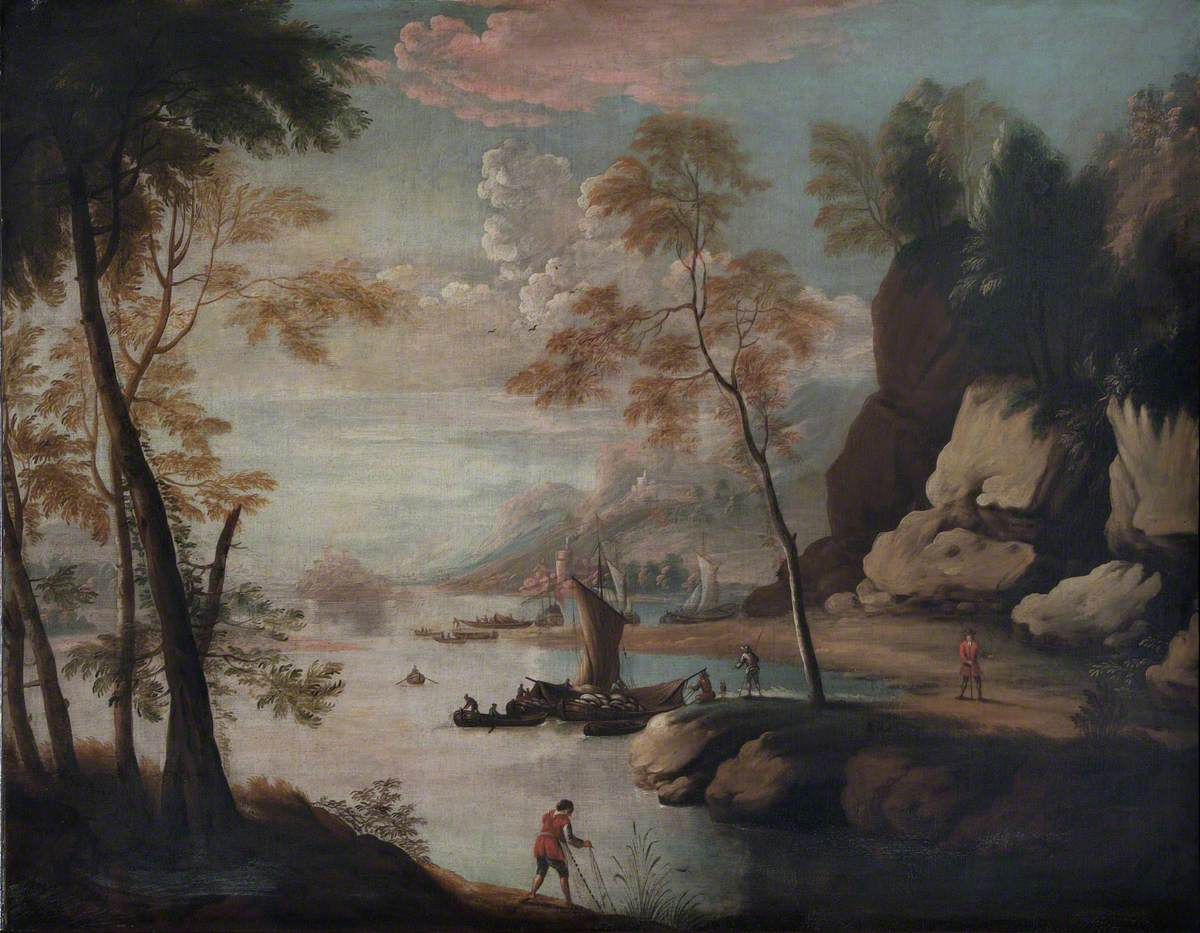 Figures in a Mountainous River Landscape