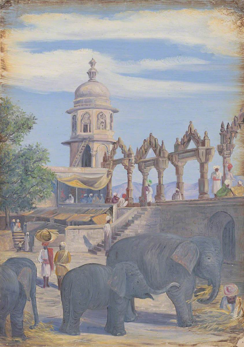 Palace Yard and Female Elephant and Child, Udaipur, India