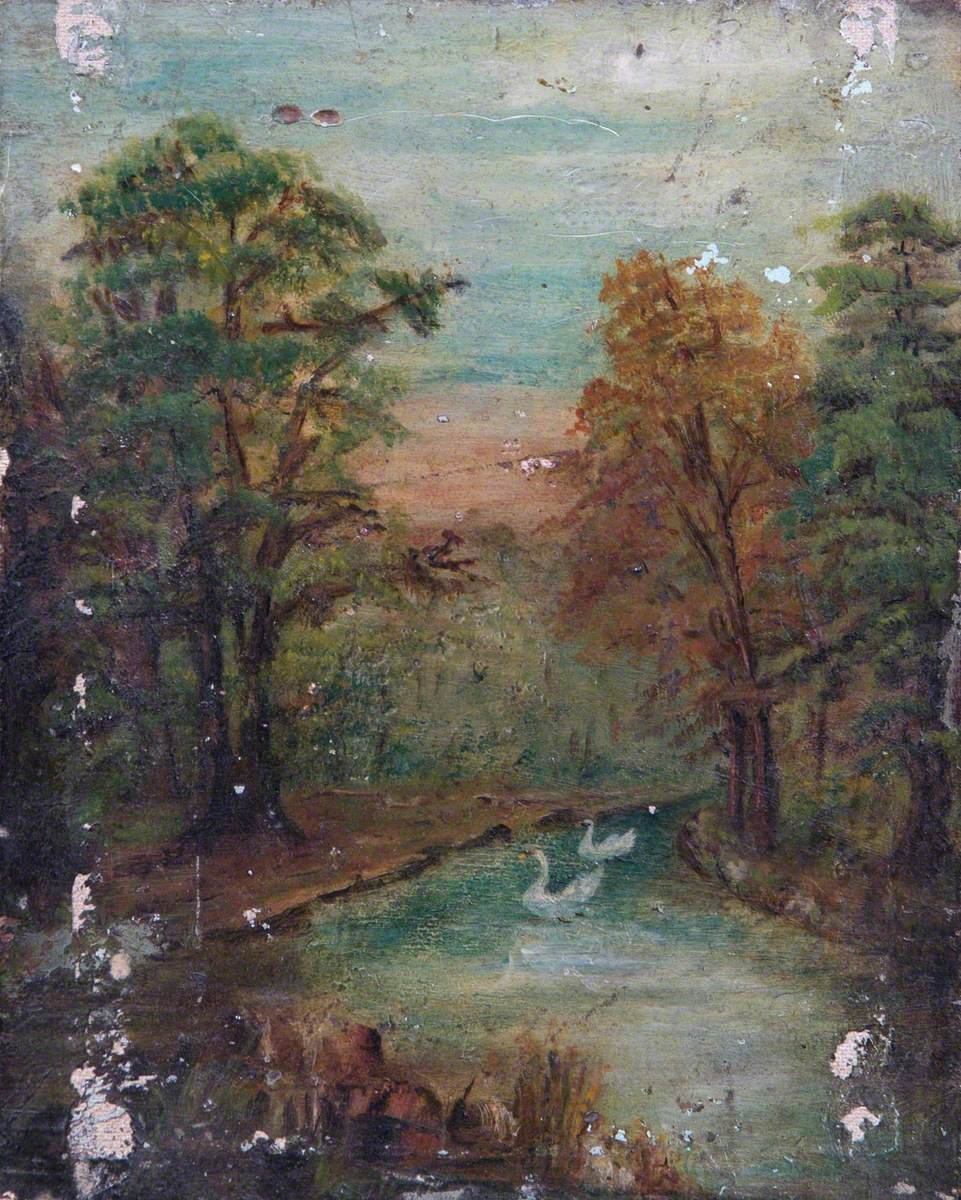 Trees, a Lake and Swans