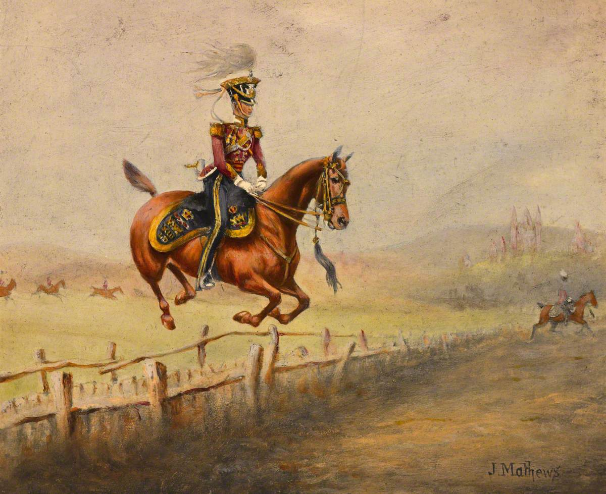 A Mounted Officer of the 13th Regiment of (Light) Dragoons Jumping a Fence, c.1835