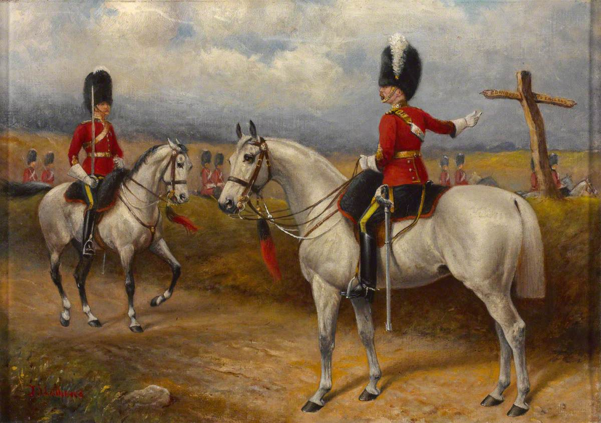 Two Mounted Officers of the 2nd Dragoons (Royal Scots Greys) Standing on a Road, c.1895