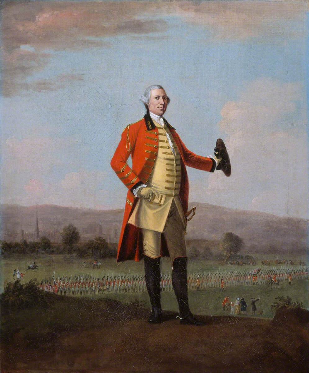 Sir Armine Wodehouse (1714–1777), MP, Colonel of the 2nd, or Eastern Regiment of Norfolk Militia, at a Review of his Regiment near Norwich
