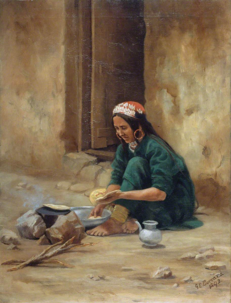 A Hill Woman from Ladakh, Cooking Her Food